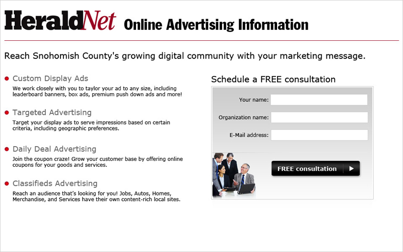 Everett Herald Advertising Landing Page