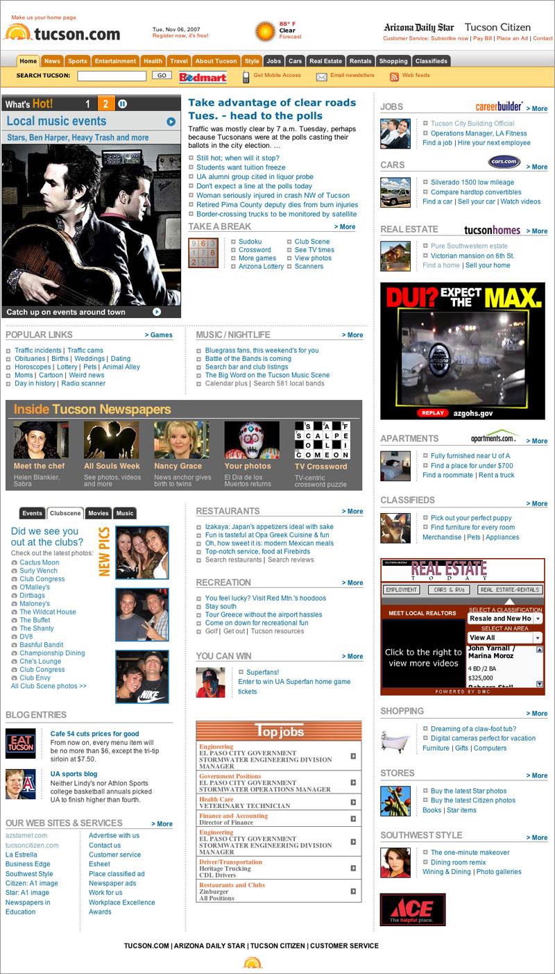 TUcson.com home page 2007