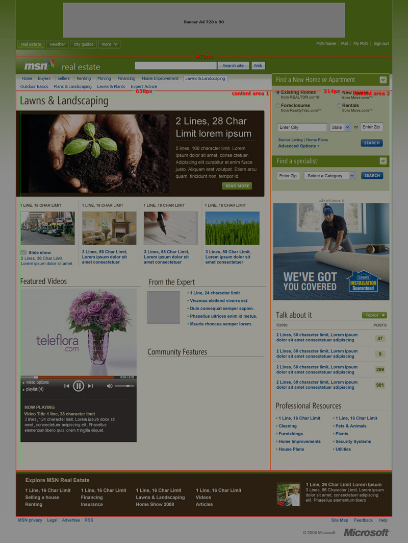 MSN Real Estate Channel Layout Specs