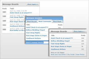 Message Boards Widget for MSN Travel Channnel