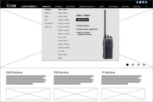 Icom Wireframe for Land Mobile Division Landing Page